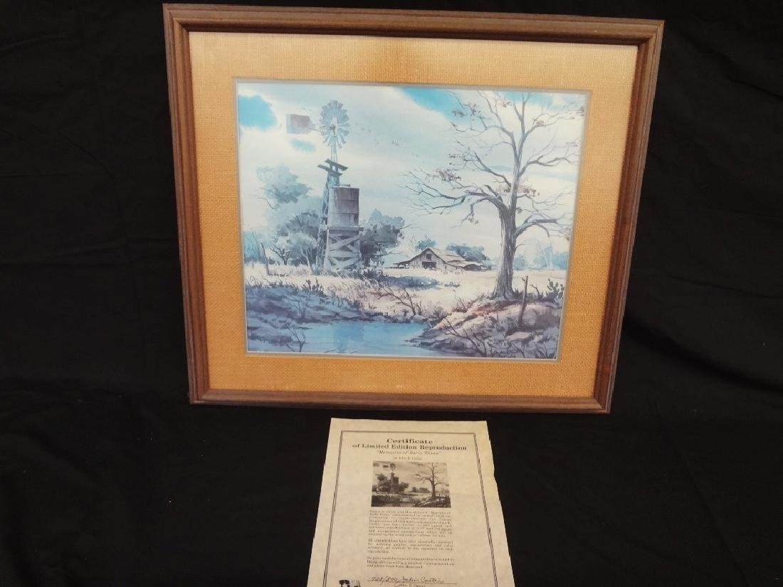 "John Carter Signed Lithograph ""Memories of Early Texas"""
