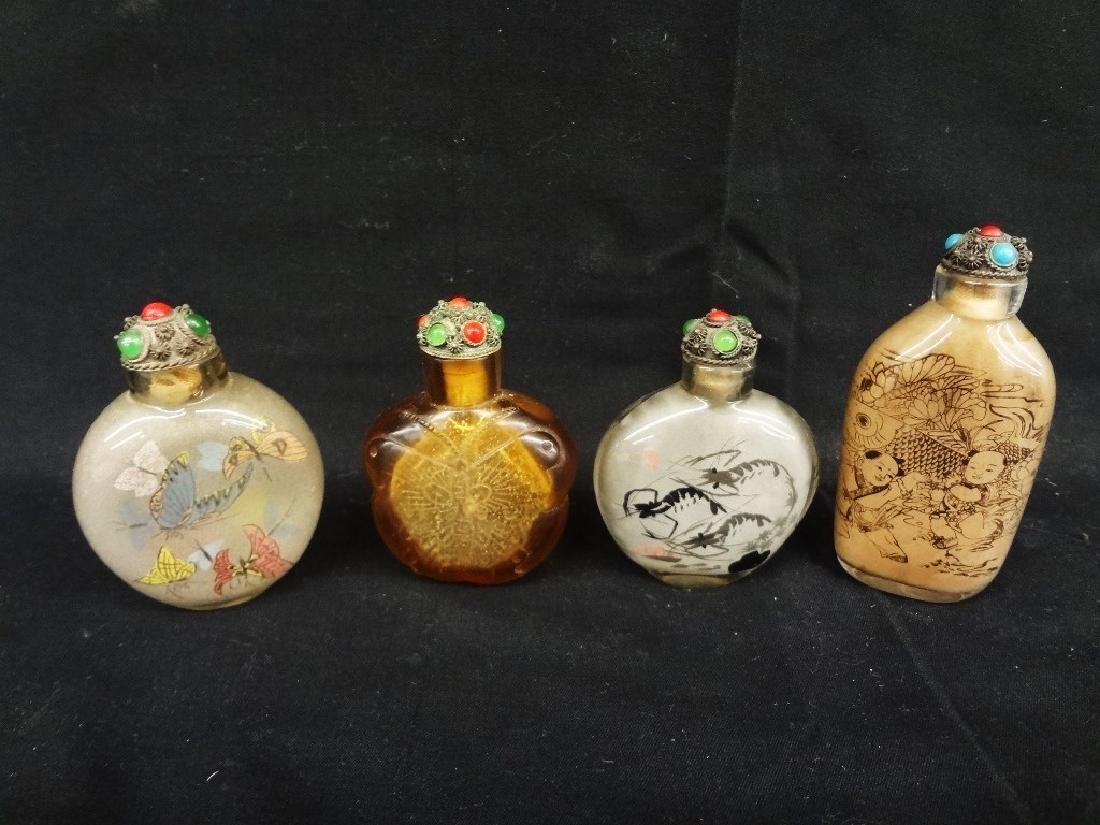 (4) Chinese Snuff Bottles All Etched Glass