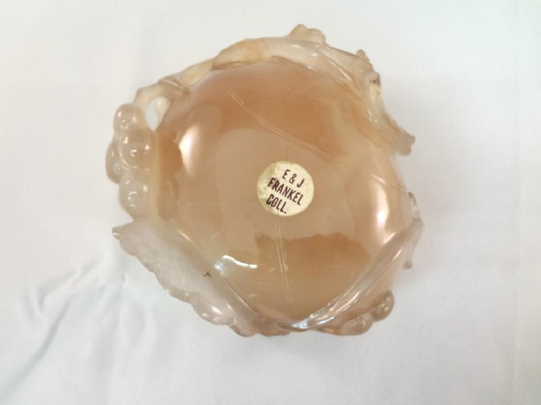 Smoky Pink Jade Carved Lotus Dish - 5