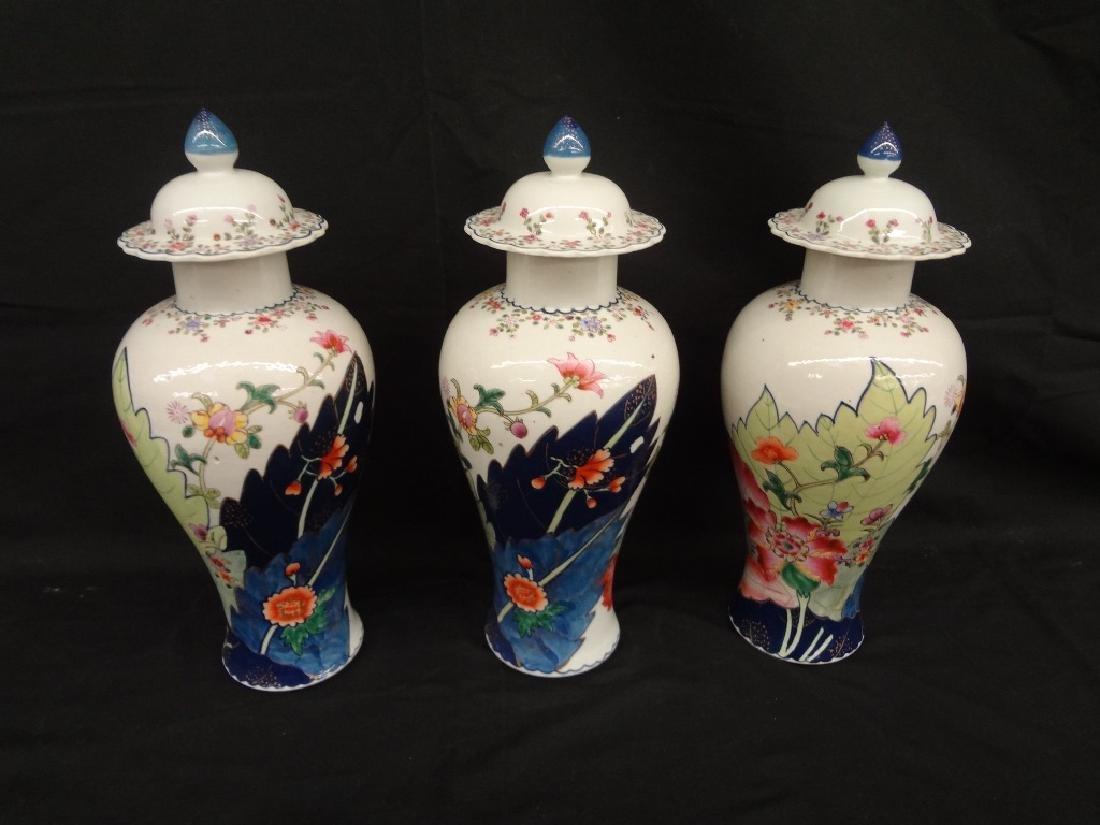 Three Imari Lidded Chinese Vases