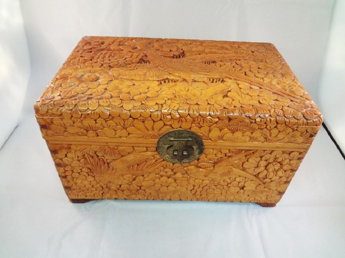 Chinese Heavily Carved Box Bird Scenes
