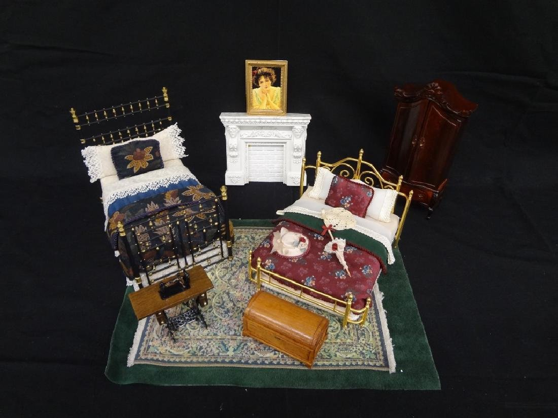 Collection of Miniature Doll House Furniture:
