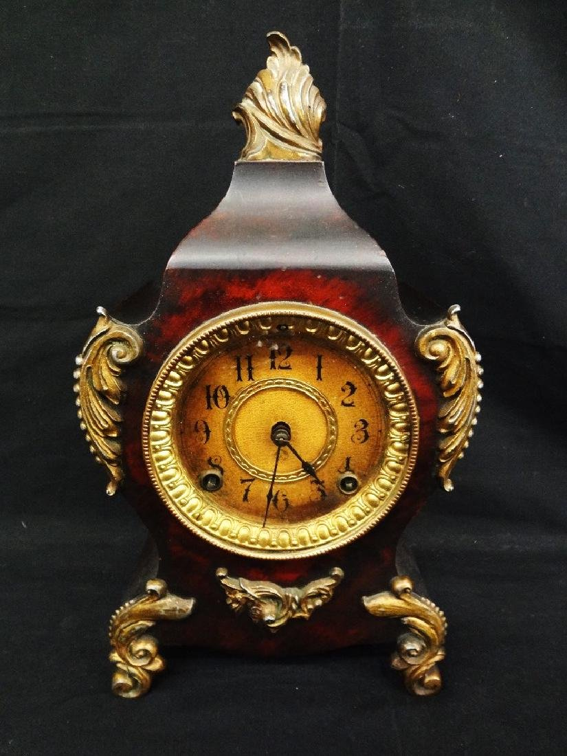 Ansonia Brass and Wood Mantle Clock