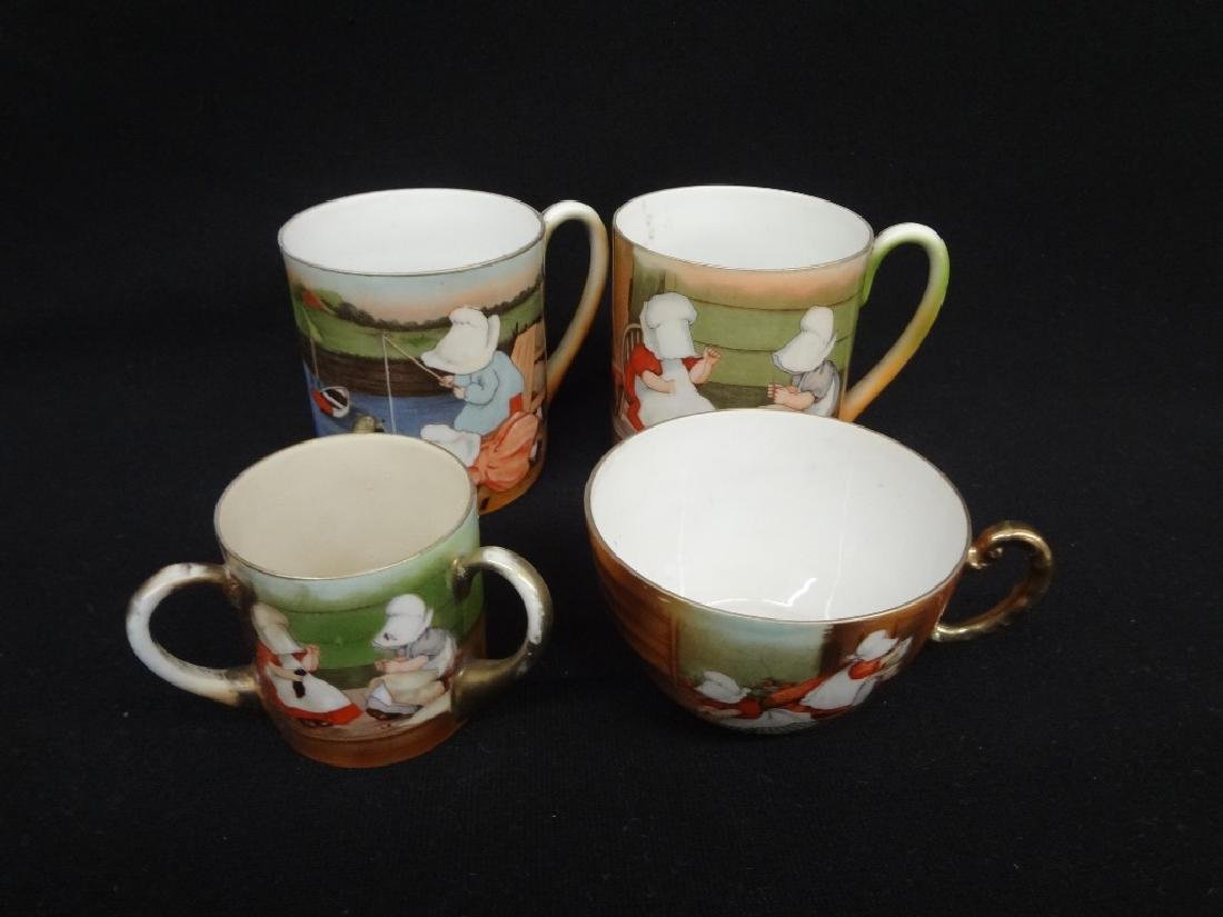 Royal Bayreuth Sunbonnet Girls (2) Coffee Cups, (1) Tea