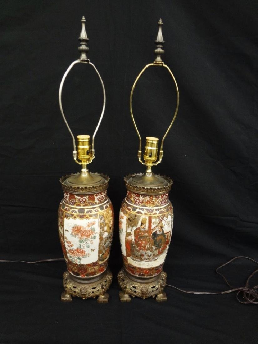 Pair of Japanese Satsuma Lamps Samurai Decoration