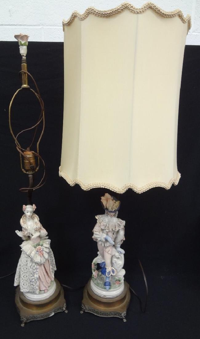 Pair Boleslaw Cybis Cordey Lamps Man and Woman