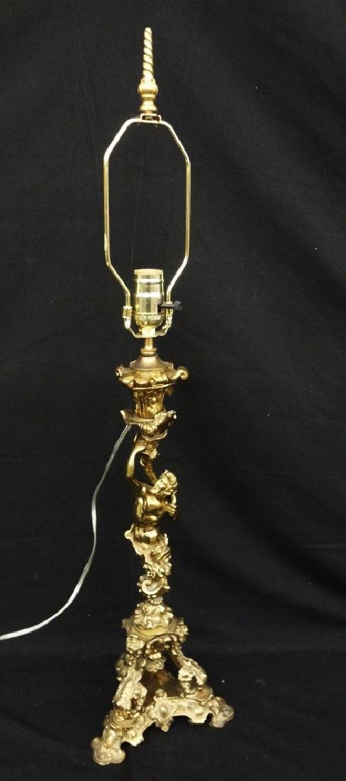 Single Brass Ornate Lamp Man with Torchiere