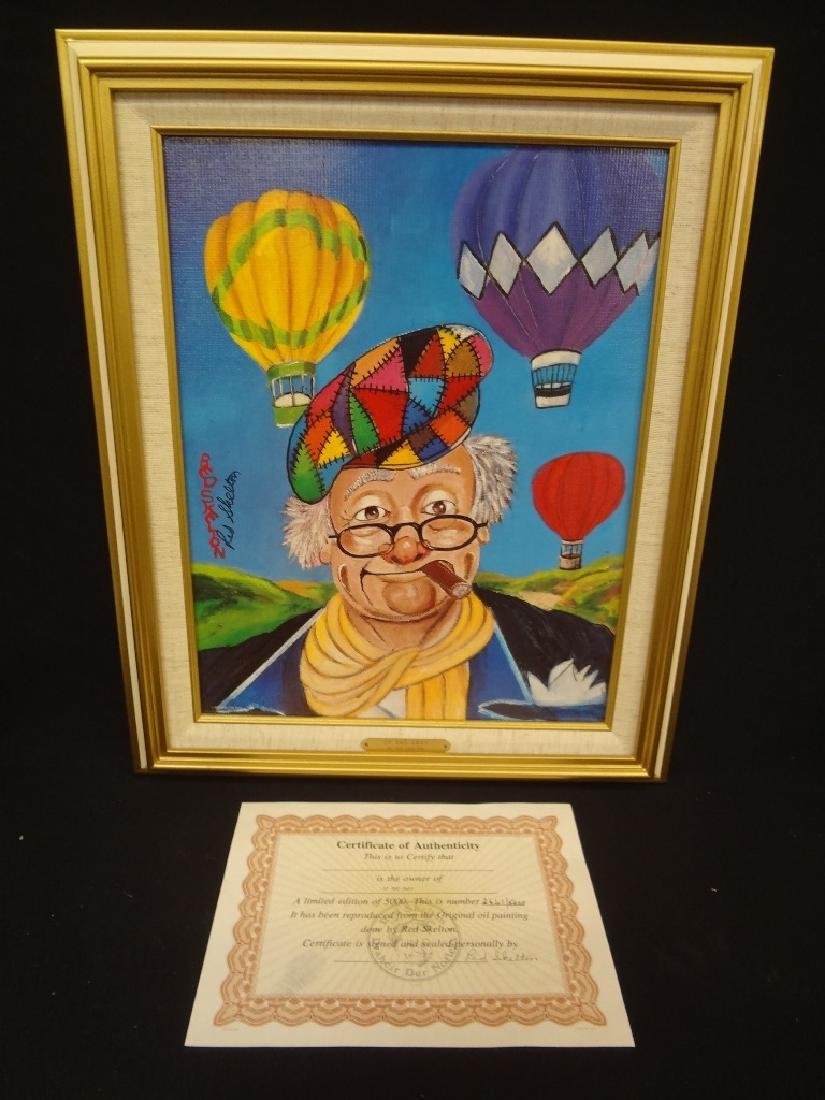 """Red Skelton Signed Lithograph """"Up and Away"""" Clown"""