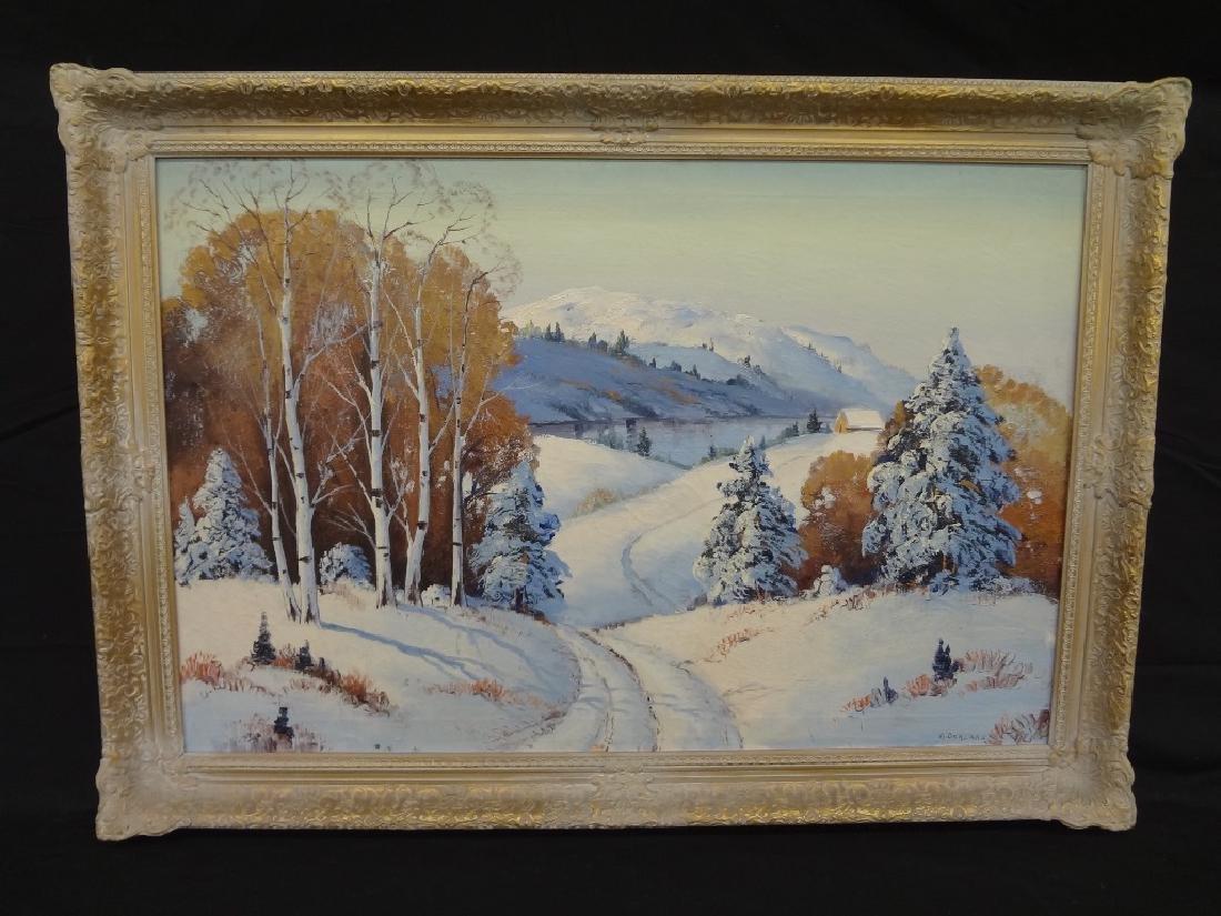 A. Berzano Original Oil on Canvas: Winter Landscape