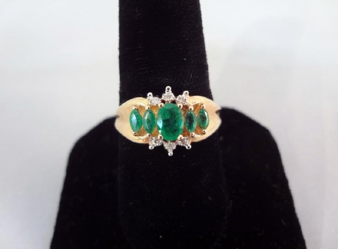 14K Gold Ring (1) Oval Emerald (4) Marquise Emeralds