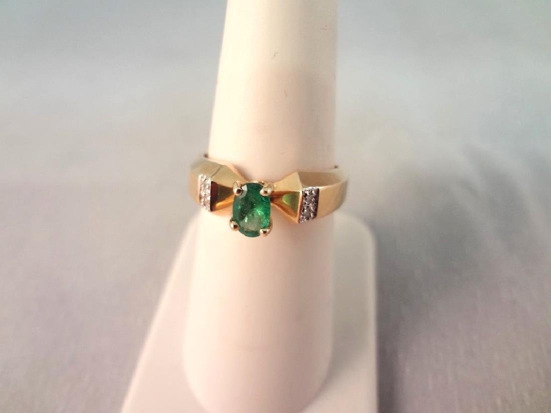 14K Gold Ring Oval Cut Emerald 6x4mm Ring Size 6.5