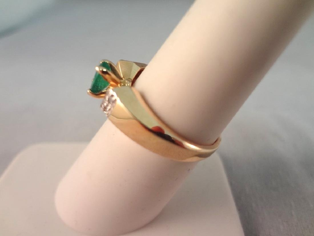 14K Gold Ring Oval Cut Emerald 6x4mm Ring Size 6.5 - 2