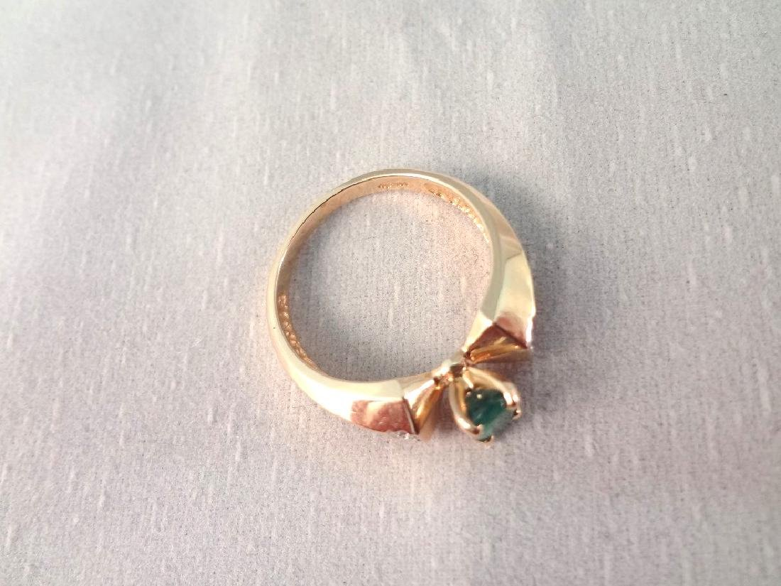 14K Gold Ring Oval Cut Emerald 6x4mm Ring Size 6.5 - 3