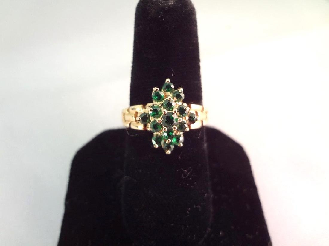 14K Gold Ring (15) Round Emeralds with (2)mm Center