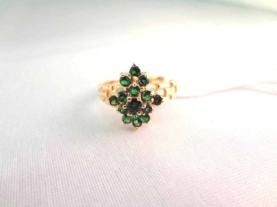 14K Gold Ring (15) Round Emeralds with (2)mm Center - 3