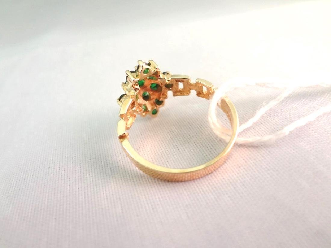 14K Gold Ring (15) Round Emeralds with (2)mm Center - 4