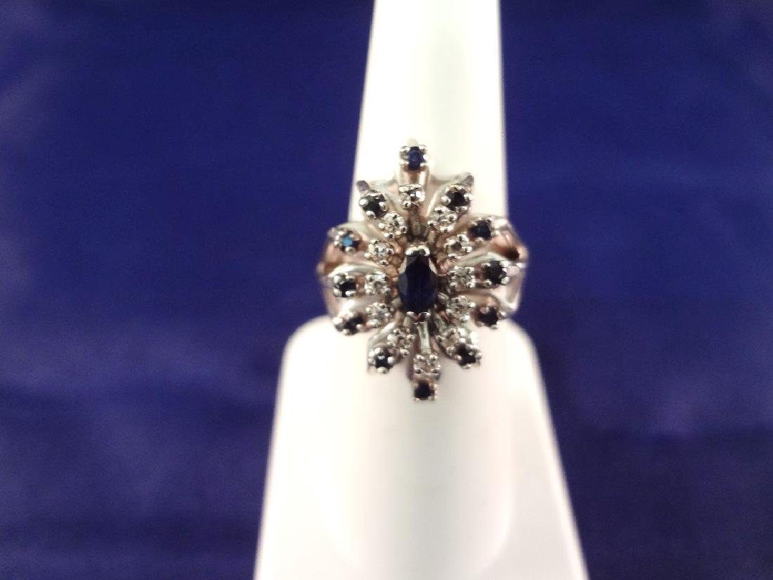14K White Gold Diamond and Sapphire Ring Cluster