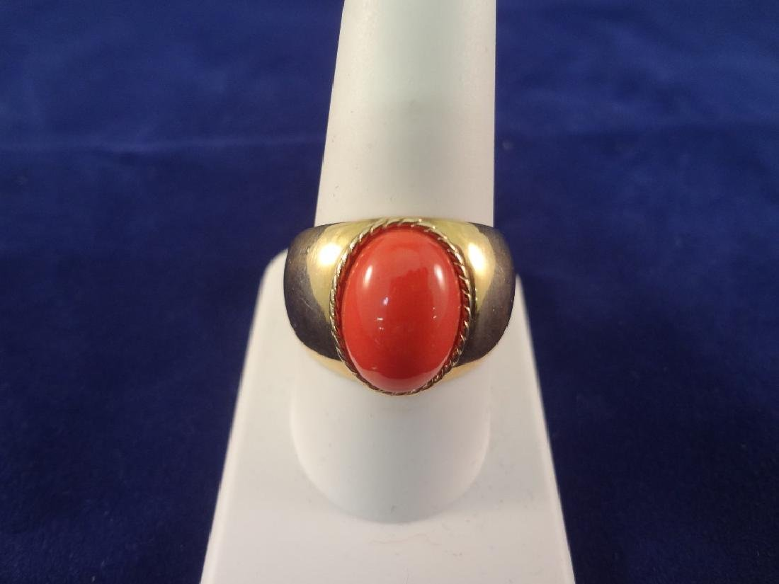 14K Gold Ring with Oval Coral Cabochon