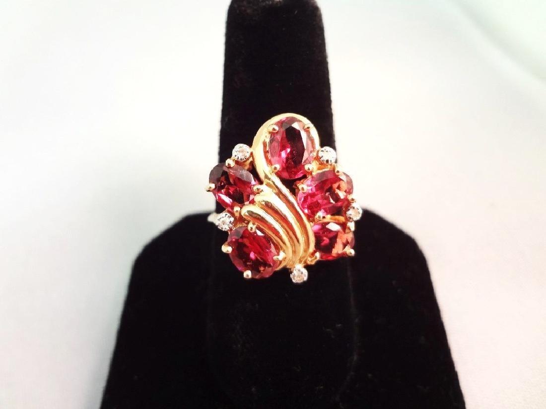 14K Gold Ring (5) Oval Tourmaline 7x5mm, (5) Diamond