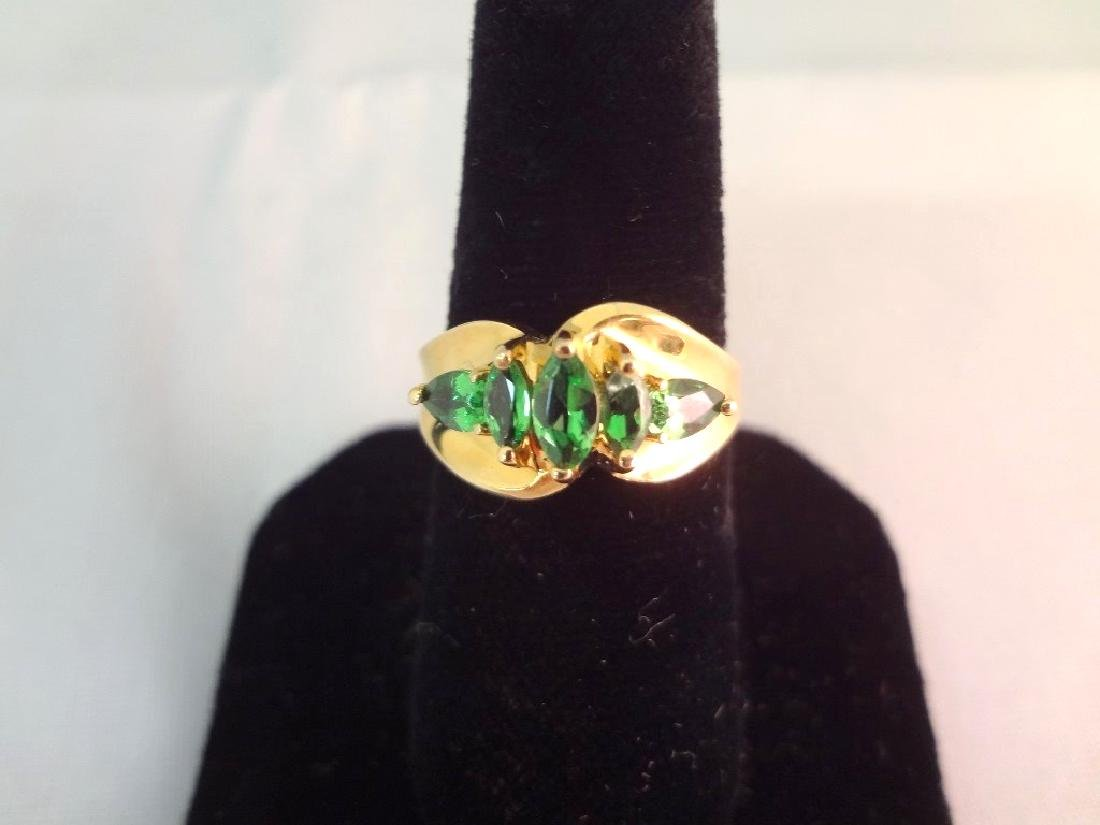 14K Gold Ring (3) Marquise Cut Emeralds (2) Pear Cut