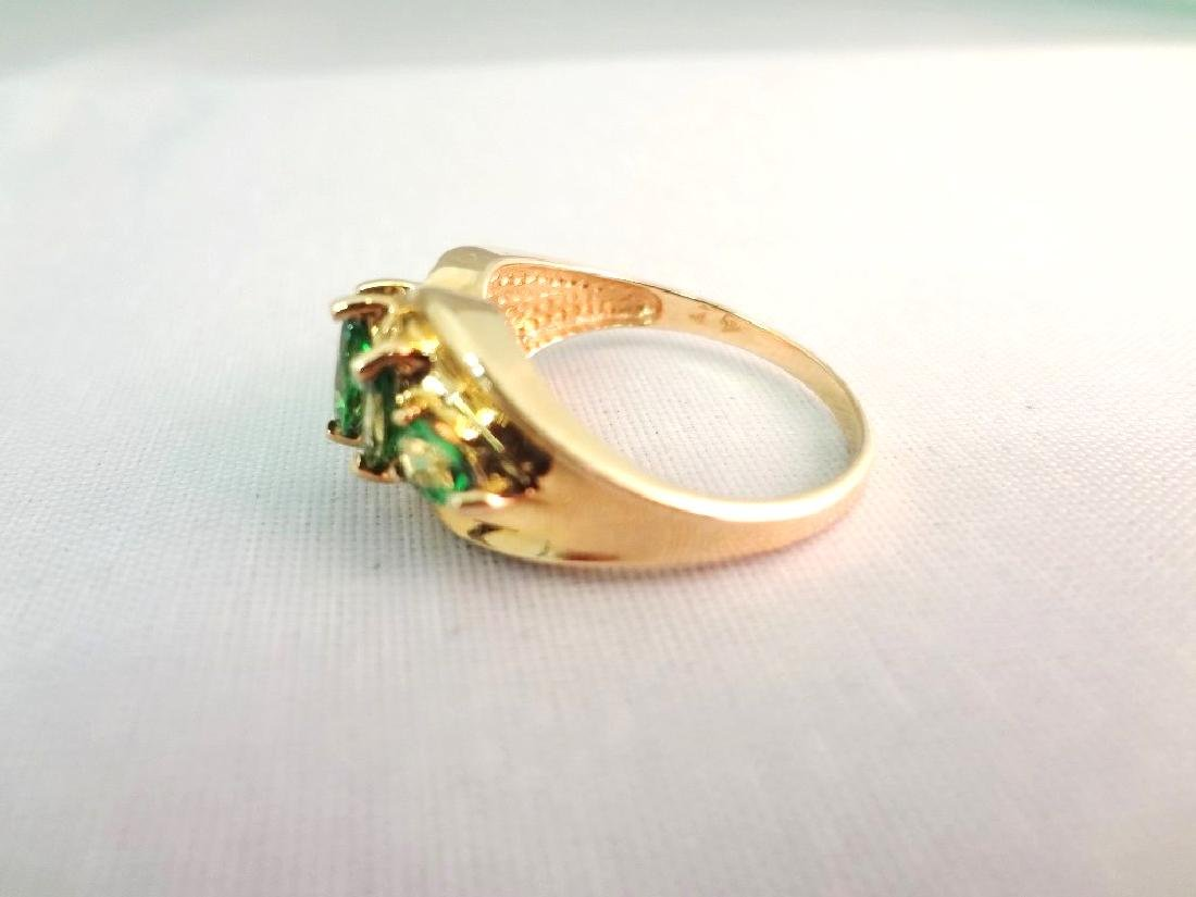 14K Gold Ring (3) Marquise Cut Emeralds (2) Pear Cut - 2