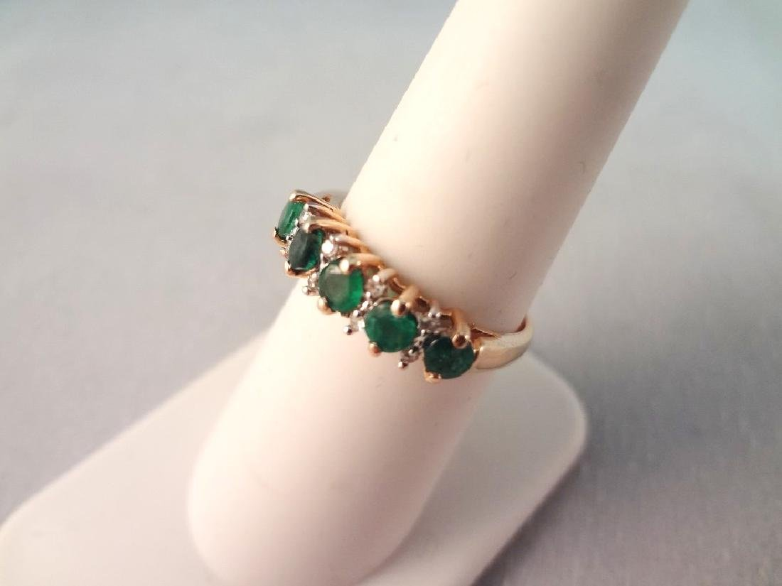 14K Gold Ring with (5) Round Emeralds (8) Diamond Chips