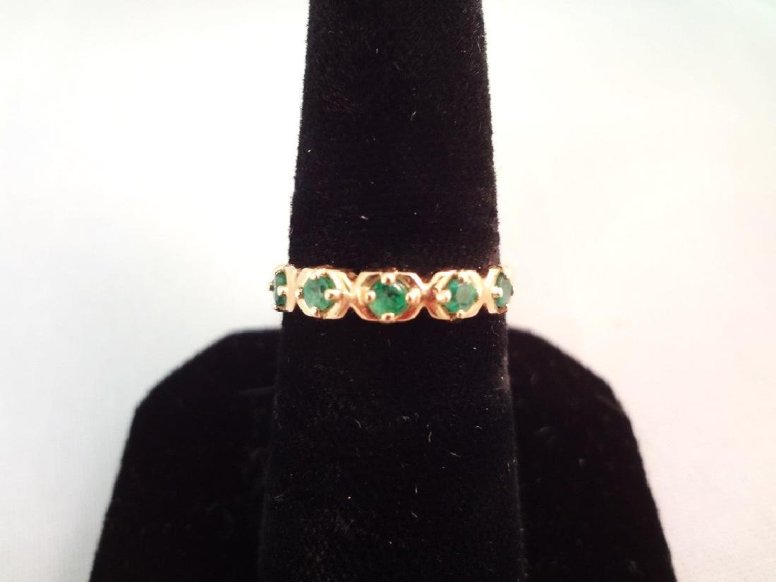 14K Gold Ring (5) Round Emeralds Size 6.75