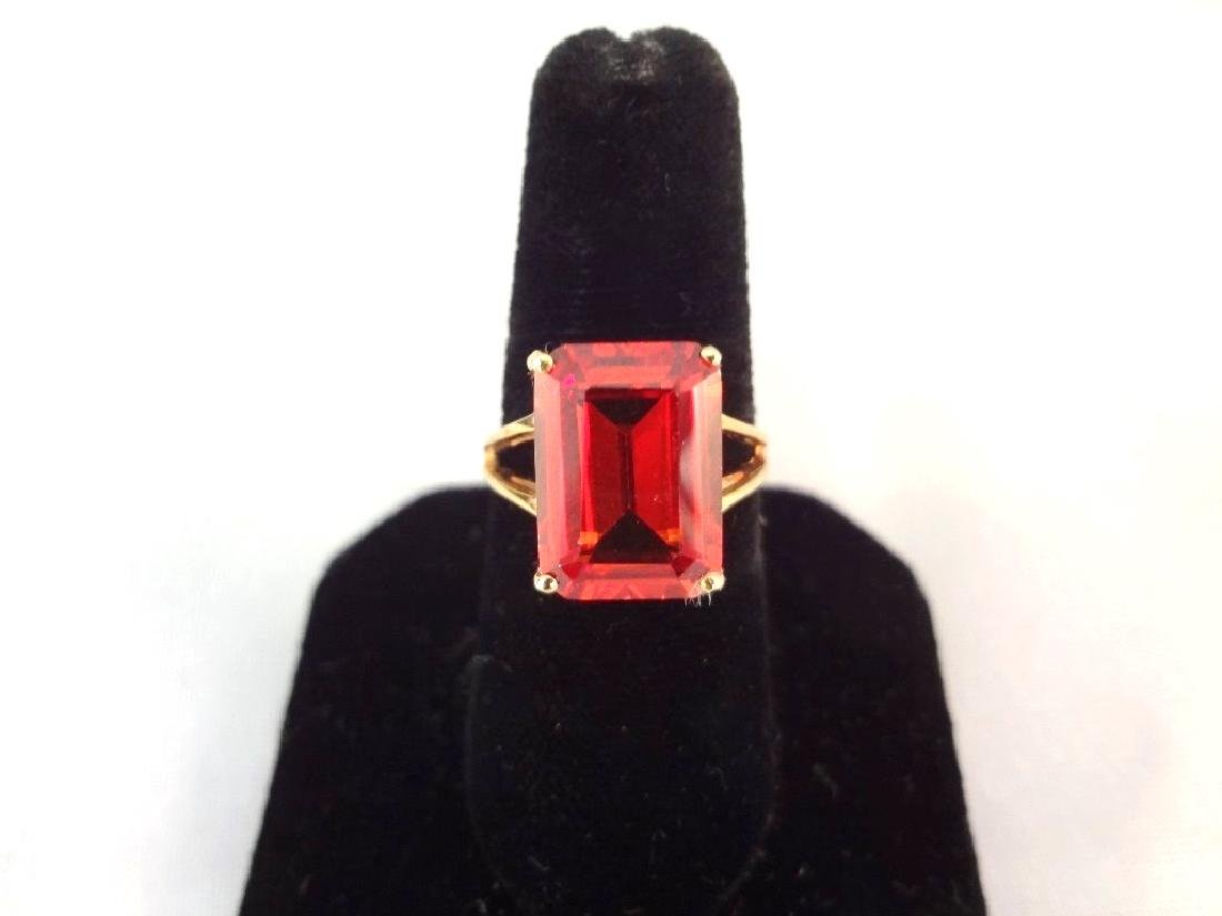 14K Gold Ring (1) Solitaire Ruby Emerald Cut 10x14mm 9