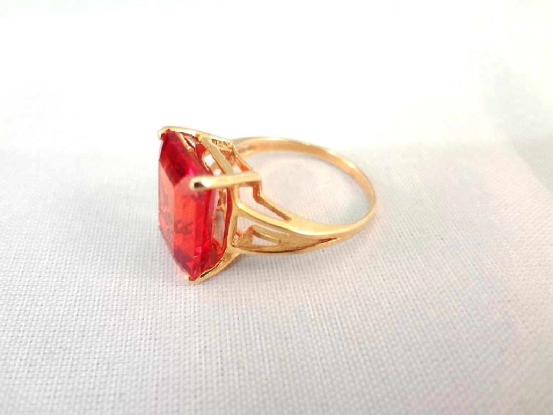 14K Gold Ring (1) Solitaire Ruby Emerald Cut 10x14mm 9 - 2