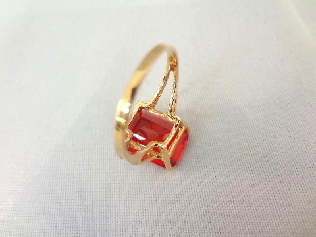 14K Gold Ring (1) Solitaire Ruby Emerald Cut 10x14mm 9 - 3