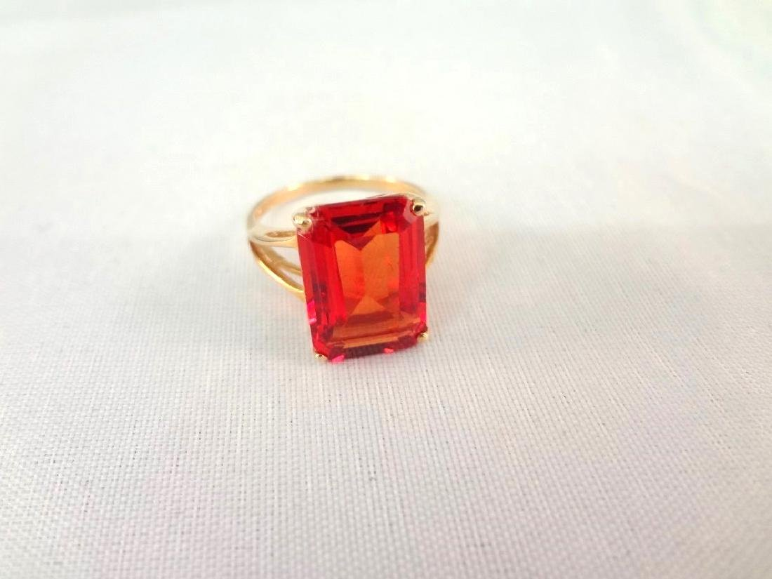 14K Gold Ring (1) Solitaire Ruby Emerald Cut 10x14mm 9 - 4