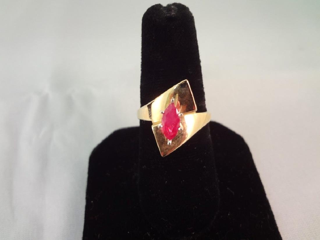 14K Gold Ring (1) Ruby Marquise Cut Solitaire 8x4mm
