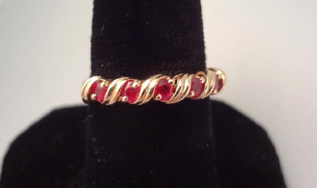 14K Gold Ring (5) Round Rubies 2.6mm Ring Size 6.5