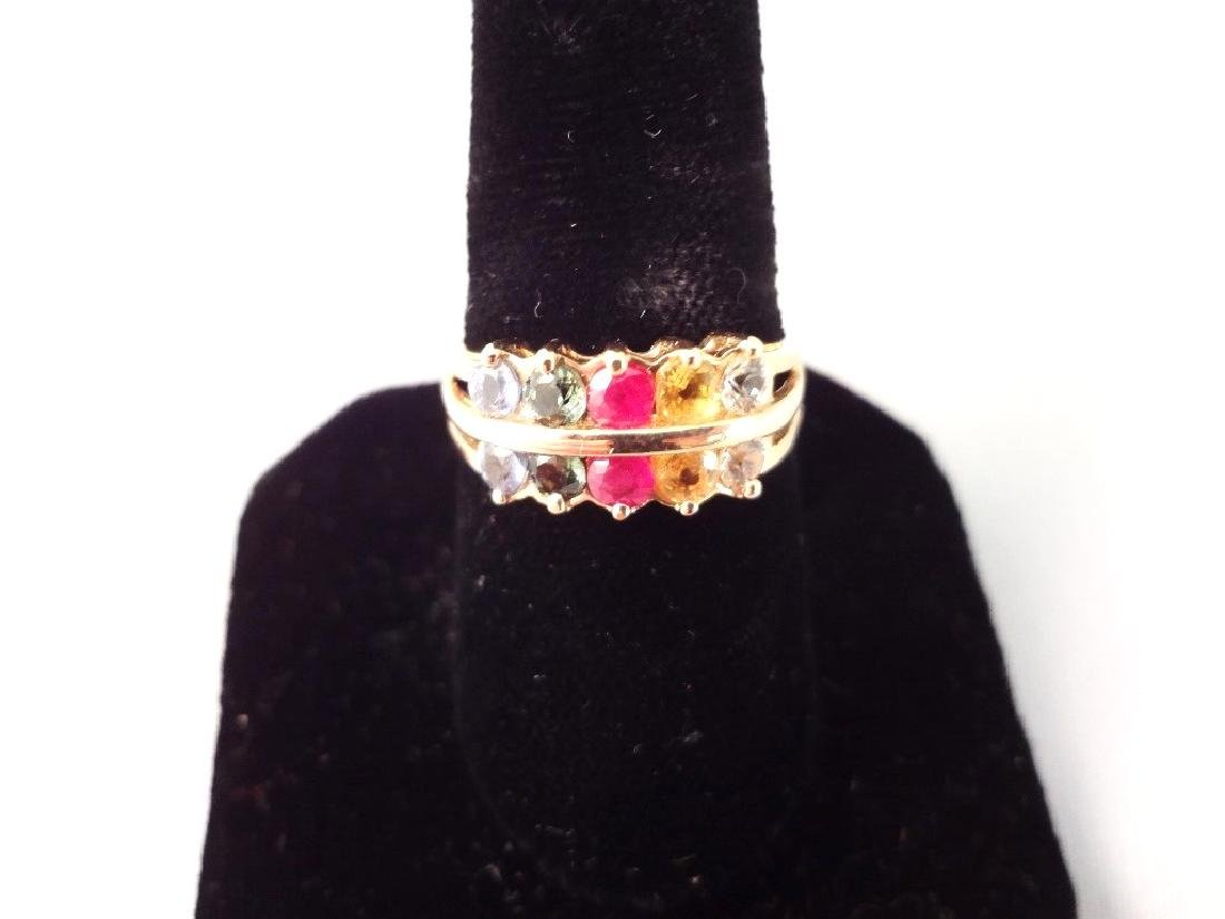 14K Gold Ring (10) Round Rainbow Sapphires 2.6mm Ring