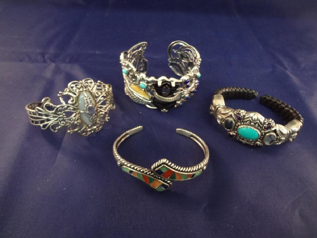Carolyn Pollack Sterling Silver (4) Cuff Bracelets;