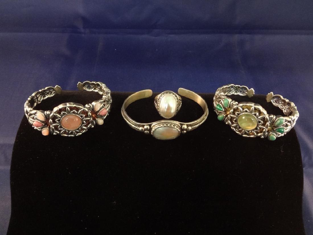 Carolyn Pollack Sterling Silver (3) Cuff Bracelets, (1)