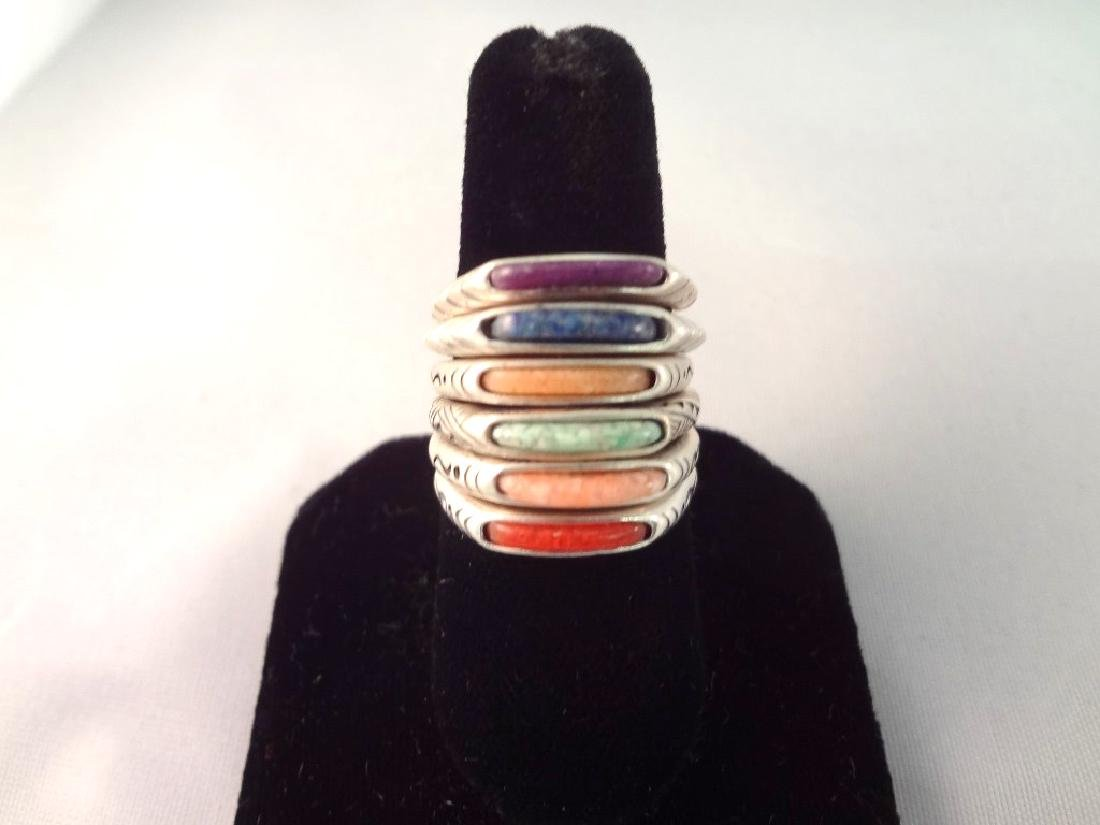(6) Carolyn Pollack Relios Sterling Stackable Rings