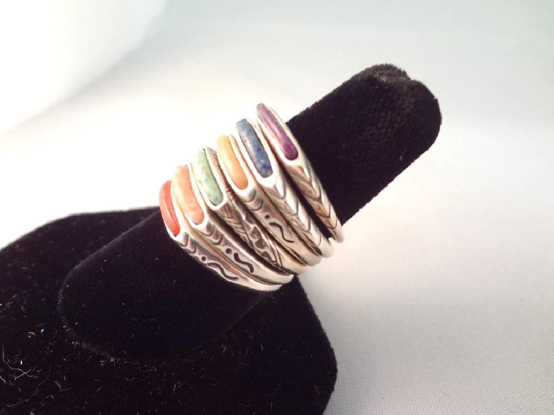 (6) Carolyn Pollack Relios Sterling Stackable Rings - 2