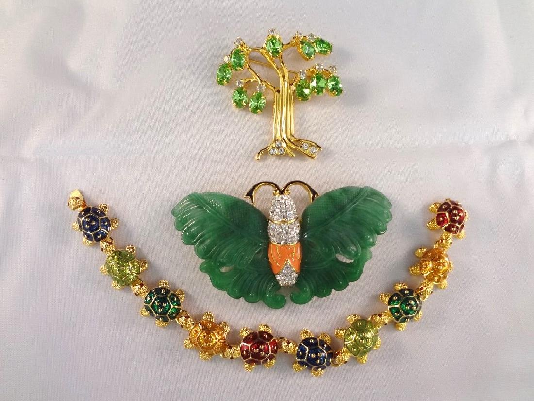 Kenneth Jay Lane Enamel and Rhinestone Jewelry Brooch,