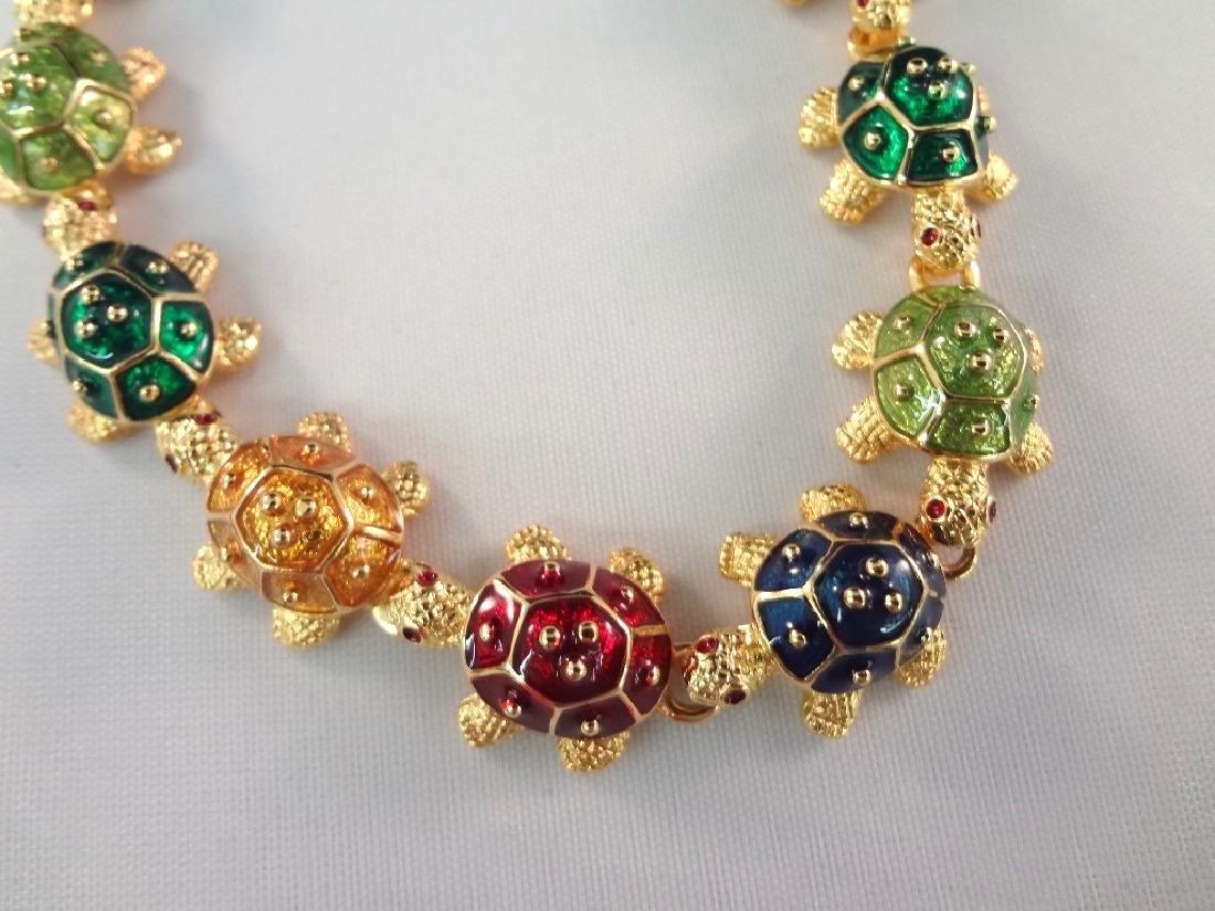 Kenneth Jay Lane Enamel and Rhinestone Jewelry Brooch, - 2