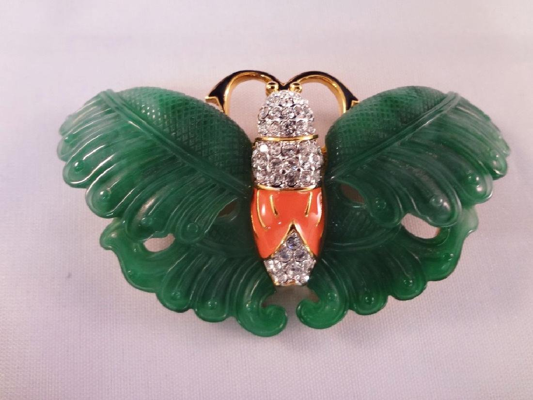 Kenneth Jay Lane Enamel and Rhinestone Jewelry Brooch, - 3