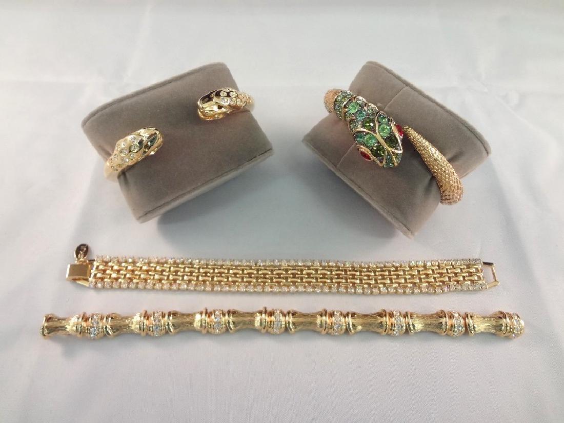 (4) Kenneth Jay Lane Bracelets: (2) Clamper, (2)