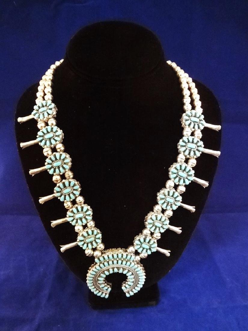 Navajo Turquoise Coral Double Sided Squash Blossom