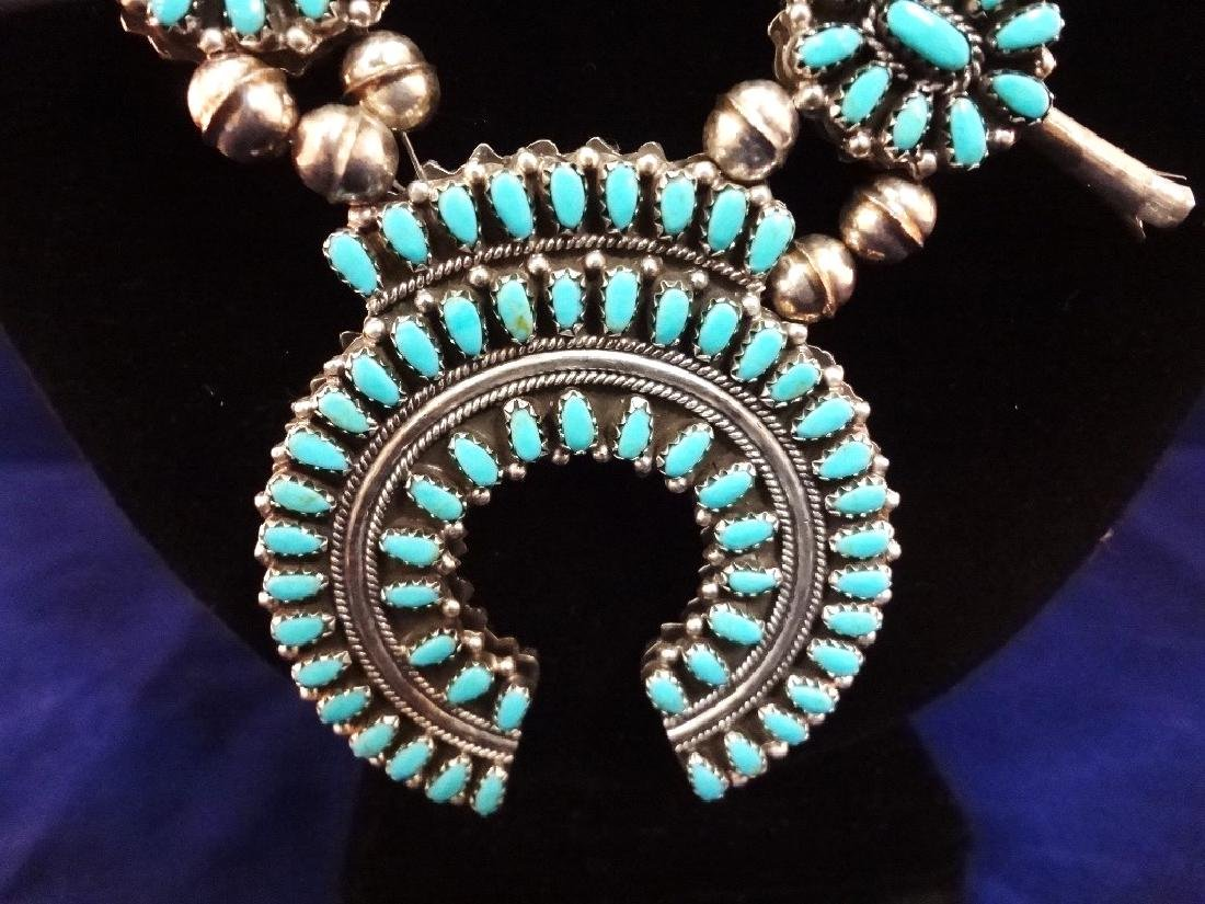 Navajo Turquoise Coral Double Sided Squash Blossom - 2