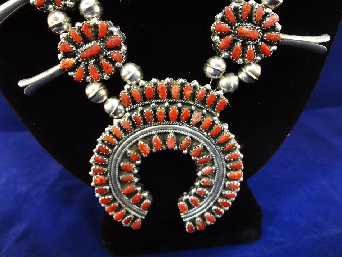 Navajo Turquoise Coral Double Sided Squash Blossom - 6