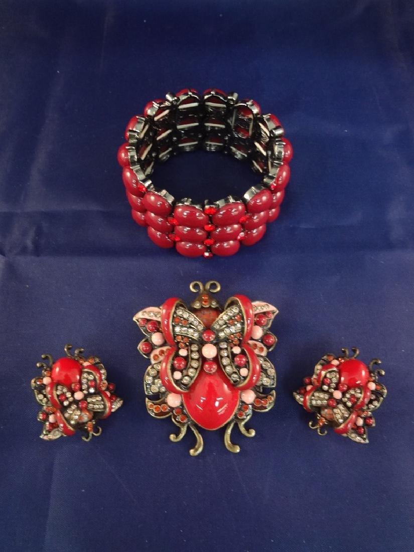 Joan Rivers Brooch and Earring, Bracelet Set Butterfly