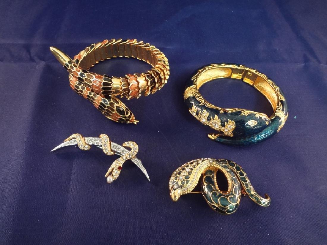 Joan Rivers (2) Snake Enameled Reticulating Bracelets