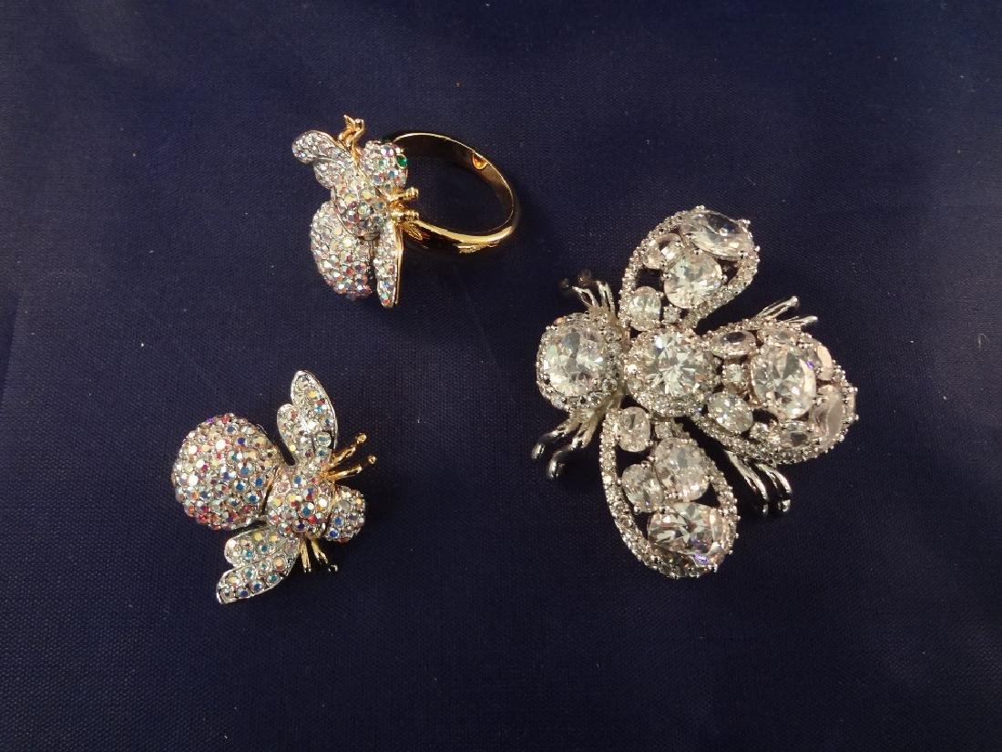 Joan Rivers Bee Brooches75 and Matching Ring