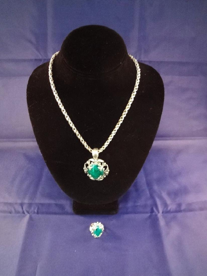 Carolyn Pollack Sterling Silver and Malachite Necklace,