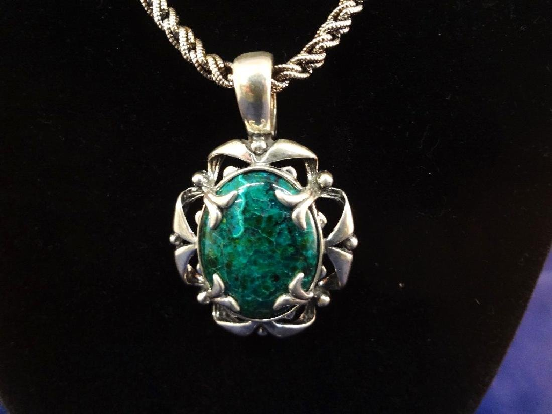 Carolyn Pollack Sterling Silver and Malachite Necklace, - 2